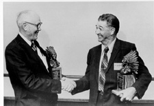 "Manning Price and O.H. Graham receive the ""Chief"" Award from the Southwestern Branch, ESA, 1978."