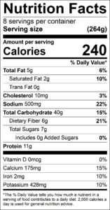 Vegetarian Enchilada Casserole Nutrition Facts Serving size (264g) servings per container 8 Amount per serving Calories 240 % Daily Value Total Fat 5 g 6 % Saturated Fat 2 g 10 % Trans Fat 0 g Cholesterol 10 mg 3 % Sodium 500 mg 22 % Total Carbohydrate 40 g 15 % Dietary Fiber 6 g 21 % Total Sugars 7 g Added Sugars 0 g 0 % Protein 11 g Vitamin D 0 mcg 0 % Calcium 175 mg 15 % Iron 2 mg 10 % Potassium 428 mg 10 %