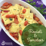 Ravioli & Tomato recipe plated on a white pasta serving bowl.