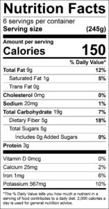 Summer Salad Nutrition Facts Serving size (245g) servings per container 6 Amount per serving Calories 150 % Daily Value Total Fat 9 g 12 % Saturated Fat 1 g 5 % Trans Fat 0 g Cholesterol 0 mg 0 % Sodium 20 mg 1 % Total Carbohydrate 19 g 7 % Dietary Fiber 5 g 18 % Total Sugars 5 g Added Sugars 0 g 0 % Protein 3 g Vitamin D 0 mcg 0 % Calcium 25 mg 2 % Iron 1 mg 6 % Potassium 567 mg 10 %