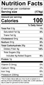 Pomegranate Fruit Salad Nutrition Facts Serving size (174g) servings per container 8 Amount per serving Calories 100 % Daily Value Total Fat 0.5 g 1 % Saturated Fat 0 g 0 % Trans Fat 0 g Cholesterol 0 mg 0 % Sodium 0 mg 0 % Total Carbohydrate 26 g 9 % Dietary Fiber 4 g 14 % Total Sugars 20 g Added Sugars 4 g 8 % Protein 1 g Vitamin D 0 mcg 0 % Calcium 18 mg 2 % Iron 1 mg 6 % Potassium 230 mg 4 %