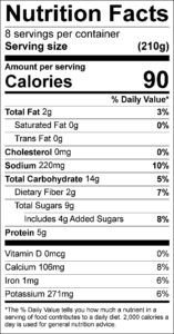 Strawberry Cucumber Salad Nutrition Facts Serving size (210g) servings per container 8 Amount per serving Calories 90 % Daily Value Total Fat 2 g 3 % Saturated Fat 0 g 0 % Trans Fat 0 g Cholesterol 0 mg 0 % Sodium 220 mg 10 % Total Carbohydrate 14 g 5 % Dietary Fiber 2 g 7 % Total Sugars 9 g Added Sugars 4 g 8 % Protein 5 g Vitamin D 0 mcg 0 % Calcium 106 mg 8 % Iron 1 mg 6 % Potassium 271 mg 6 %
