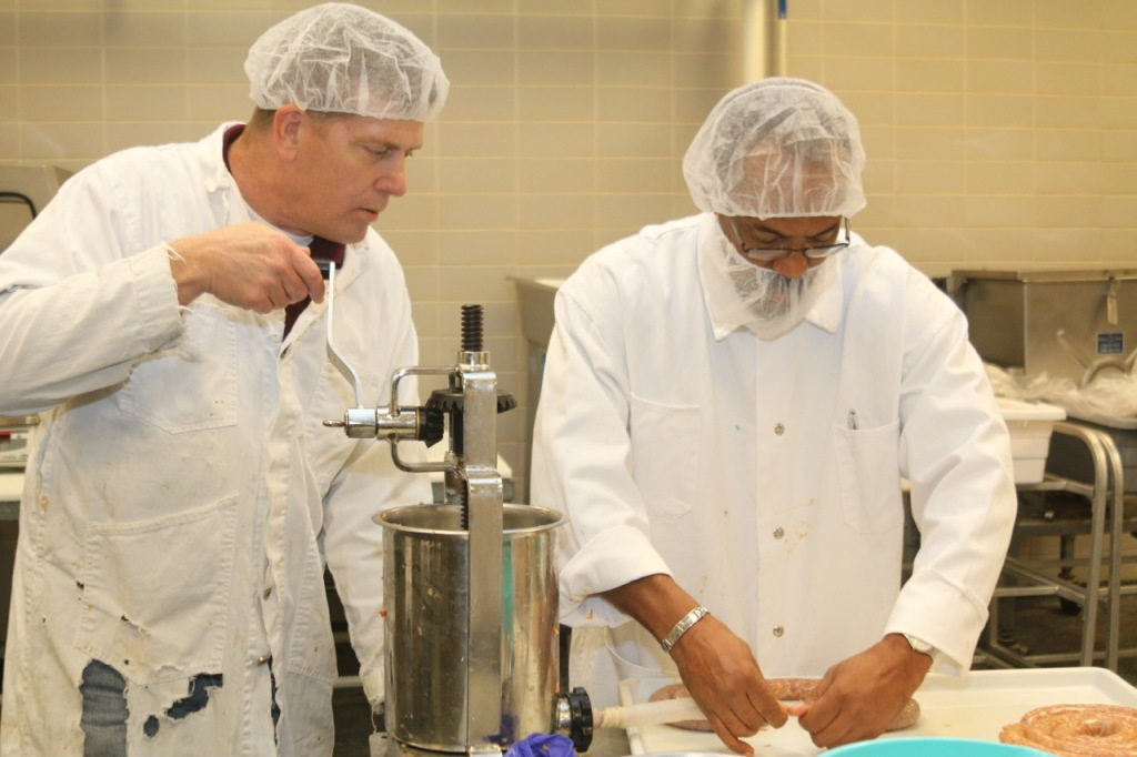Wes Osburn demonstrating stuffing