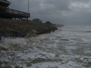 Erosion of a beach on the Texas Coast