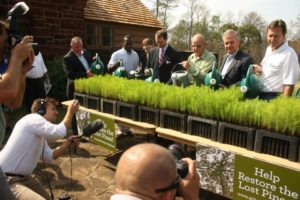 Distinguished guests water some of the first seedlings at an event